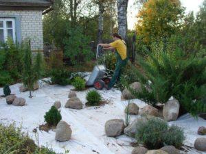 Ландшафтные работы с геотекстилем