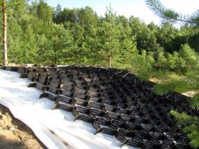 Укрепление склонов георешеткой от ЕвроДор