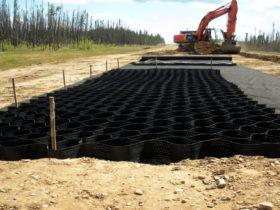 Георешетка объемная от ЕвроДор при строительстве дорог